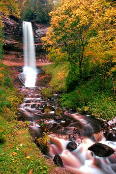 Munising Falls in autumn, upper peninsula of Michigan state, USA.-camping with the family