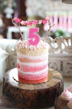 Reign Magazine | Fairy Garden Children's Birthday Party / Pink Ombre Naked Cake