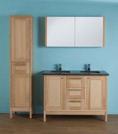 - eik naturel - wastafelkast afm. 1.189 x 530 x 670 mm - blauwsteen tablet inclusief 2 wastafels Jamie - in optie spiegelkast afm. 1.201 x 168 x 600 mm aan meerprijs - inclusief sokkel - opties: kranen, verlichting, kolomkast - ook beschikbaar in enkele uitvoering