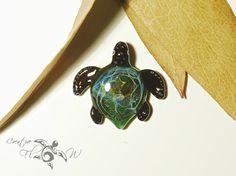 Baby Seaweed Turtle Pendant  Glass Art  Boro by CreativeFlowGlass