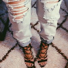 lace up sandals and destroyed boyfriend jeans #DressingwithBarbie