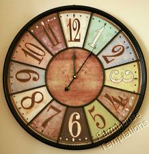 LARGE COLORFUL ROUND WALL CLOCK Tuscan FRENCH COUNTRY Wood Iron BISTRO DECOR