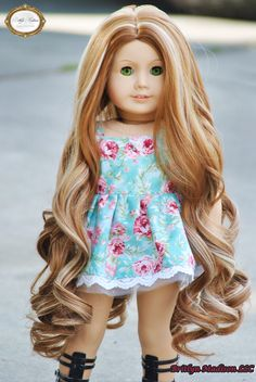 American Girl Dolls : Caramel Machiatto premium custom doll wig available in our store! Custom American Girl Dolls, Custom Dolls, American Dolls, Doll Wigs, Doll Hair, Doll Crafts, Diy Doll, Boy Hairstyles, Summer Hairstyles