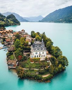 Iseltwald Castle on Lake Brienz Historical Waterside Iseltwald, Switzerland Oh The Places You'll Go, Places To Travel, Travel Destinations, Places To Visit, Beautiful Castles, Beautiful Places, Beautiful Vacation Spots, Destination Voyage, Wonders Of The World