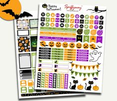50% SALE Printable Halloween Planner Stickers  by Spiffyway