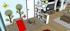 use bookshelves to separate play areas - basement