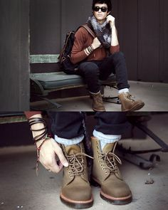 Combat boots paired paired with jeans and a cardigan.It gives off a sleek country vibe.