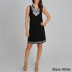 @Overstock.com - Grace Elements Women's Sleeveless Embroidered Neck Dress - This simple Grace Elements dress is perfect to wear on a casual day out. It is a simple solid-color V-neck design that has embroidery on the neckline and hem. You can get this dress in multiple colors. It is unlined and perfect for warmer weather.  http://www.overstock.com/Clothing-Shoes/Grace-Elements-Womens-Sleeveless-Embroidered-Neck-Dress/7753172/product.html?CID=214117 $26.99