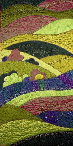 Kuvatulokset haulle How To Create A Landscape Quilts Small Quilts, Mini Quilts, Quilting Projects, Quilting Designs, Fiber Art Quilts, Landscape Art Quilts, Quilt Art, Applique Quilts, Fabric Art
