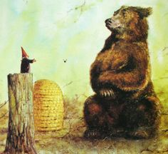 The gnome is on book tour. This image created by the great Rien Poortvliet for the equally great book GNOMES, with text by Wil Huygen Norman Rockwell, Rockwell Kent, Woodland Creatures, Magical Creatures, Fairy Land, Fairy Tales, David The Gnome, Bear Art, Dutch Artists