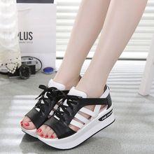 2016 de Las Mujeres Sandalias de Cuñas de Verano Sandalias Lace Up Zapatos Flip Flop Sandalias de Plataforma Femenina 119(China (Mainland))