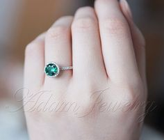 Halo 6.5mm Round Cut Emerald Ring Accent Diamonds 14K White Gold Engagement Ring/ Promise Wedding Ring/Anniversary Ring on Etsy, 2 313:28 kr