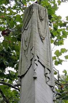 Detailed cloth draped obelisk, Lake View Cemetery, Cleveland, Ohio
