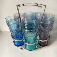 Vintage Drinking 8 Glass Set with Carrier by KyriesTreasureChest