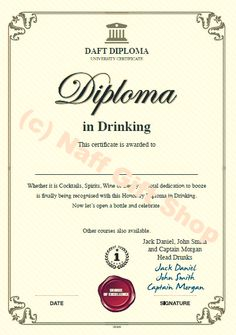 Funny prank awards and gag diplomas. Why not award someone an diploma in farting, snoring, drinking or procrastination. Funny Pranks, Funny Jokes, Funny Shit, Funny Certificates, Employee Awards, Personalised Gift Shop, Always Late, Joke Gifts, Snoring