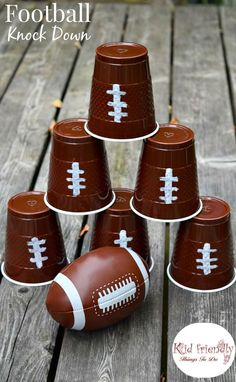 Football knock down game. Football Watch Party Ideas, recipes, and Football Cup Cozies! Crafts, Games, Food and more! Such fun ideas in this post! Football Party Games, Football Banquet, Football Football, Football Party Decorations, Kids Sports Party, Football Season, Football Recipes, Football Crafts, Watch Football