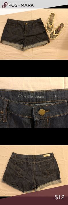 EUC Calvin Klein Denim Shorts Size 14 Calvin Klein Denim jean shorts, size 14. Very soft Denim. Dark blue and in great used condition.  Make me an offer! 🙂 Calvin Klein Shorts Jean Shorts