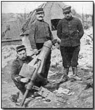 French trench mortar-A mortar is essentially a short, stumpy tube designed to fire a projectile at a steep angle (by definition higher than 45 degrees) so that it falls straight down on the enemy. World War One, First World, Modern History, British Army, Wwi, Warfare, Trench, Battle, 1914 1918
