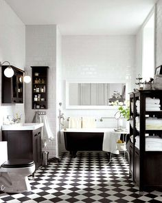 black ad white bathroom