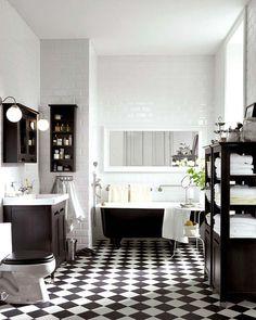 black ad white bathroom