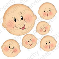 Home of the original clear, peach-tinted, high-quality whimsical face stamps.Basic Paper Doll Face Assortment - Clear Face Stamps for Die Cuts and Digital SVG Cut FilesBy Luiza Alfama: Riscoscute faces to paint on different crafts/or appliques. Baby Faces, Cute Faces, Doll Eyes, Doll Face, Fabric Dolls, Paper Dolls, Peachy Keen Stamps, Cartoon Faces, Tole Painting