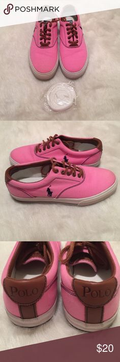 Pink Polo Shoes Pink and brown canvas and leather with a navy horse and trimmings. Good condition. Slight wear around the canvas on the bottom but will come off with a scrub. Laces are leather but come with a brand new white pair as well Polo by Ralph Lauren Shoes Sneakers