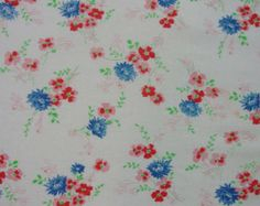 """Sweet Vintage Feedsack, Fabric, Pink and Blue Flowers,34 x 42"""""""