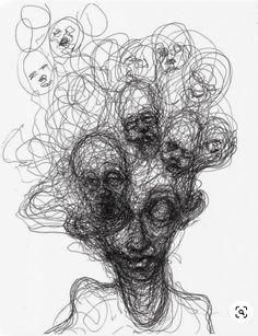 Drawings by Adam Riches? Dark Art Drawings, Art Drawings Sketches, Arte Grunge, Scribble Art, Creepy Art, Psychedelic Art, Horror Art, Surreal Art, Art Sketchbook