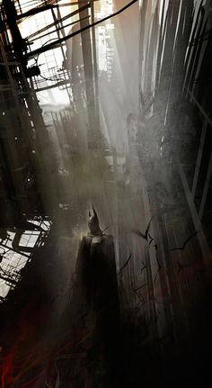 Batman comic book character art created by concept artist Eduardo Peña