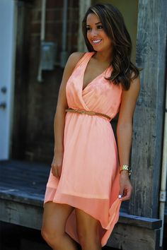 Dixie Girl High-Low Dress: Neon Peach