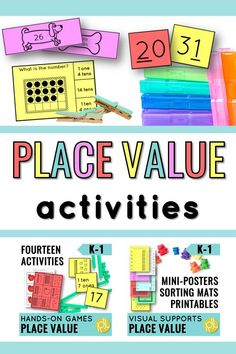 Place Value hands-on resources for your small groups and guided math centers! Great for partner work, math stations, and RTI. #placevalue #guidedmath #mathcenters