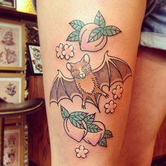 fruit bat and peaches tattoo