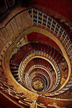 Stairs in an abandoned hotel in Tučepi, Croatia