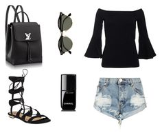 """All Black Summer"" by jildorshoes ❤ liked on Polyvore featuring Schutz, One Teaspoon, Chanel, Ray-Ban, Summer and blackonblack"