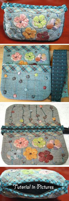 Quilt Purse with a zipper. Japanese Patchwork Tutorial in Pictures  http://www.handmadiya.com/2015/10/coin-purse-patchwork-diy.html