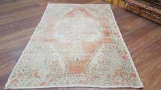 Vintage Turkish Rug, handwoven rug, Anatolian Area Rug. 4.2'x6.7' FREE SHIPPING!