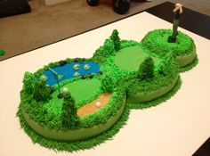 Golf cake - a neat alternative to stacking your cake. Hold onto this idea for next time I throw J a birthday party!