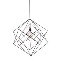 The Skeleton Chandelier is a 60cm/45cm wide, black powder coated chandelier suspended solely from its 3m black fabric cord.  The Chandelier comprises of 3 cubes, each made from 4mm square steel profile, cut and welded. The 2 identical outer cubes are rotated 45 degrees from one another with the 3rd smaller central cube free floating and framing the large carbon filament lamp inside.  Each chandelier is supplied with 3m black fabric cord to be suspended from our black ceiling cup, as well as…