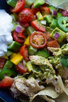 An easy recipe for crock pot beer chicken and a fresh and delicious taco salad that is tossed in a tangy cilantro vinaigrette.