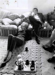 Jane Fonda and Roger Vadim at home, 1967