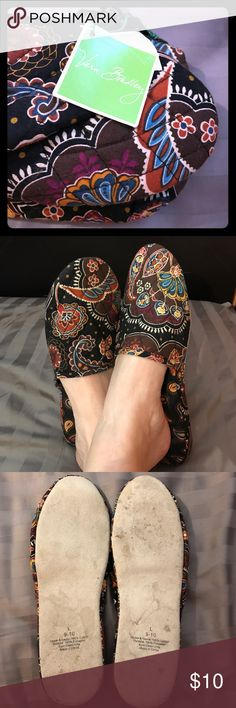 Vera Bradley slippers with carrying case Vera Bradley slippers with carrying case that could double as clutch. The case is NWT but I have worn the slippers a few times so there are some marks on the bottom. Otherwise in perfect shape. Size says Large 9-10 but I wear 7/8 and they fit fine. Vera Bradley Shoes Slippers