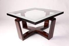 A Hungarian Bauhaus Style Coffee Table, Beech wood and Glass, Hungary, New