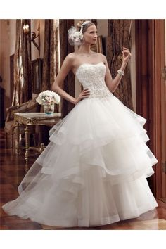 Ball Gown Strapless Drop Waist Embroidered Satin Layered Tulle Wedding Dress With Crystals