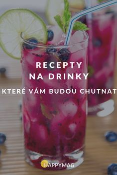 Tyhle drinky musíte udělat, návštěva bude nadšená. #drink #drinky #recept #piti Summer Drinks, Cold Drinks, Chex Mix Recipes, Mojito, Shot Glass, Smoothies, Drinking, Milkshakes, Food And Drink