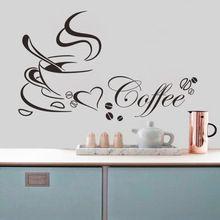Tasse de café avec coeur vinyle quote Restaurant cuisine amovible Stickers muraux bricolage home decor wall art MURAL Drop Shipping(China (Mainland))