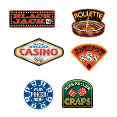 6 Casino Sign Cutouts - OrientalTrading.com