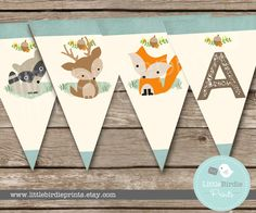 woodland baby shower decorations bunting woodland birthday party banner bunting fox deer raccoon itu0027s a boy instant download all letters