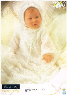 Lacy baby christening dress set vintage knitting by Ellisadine