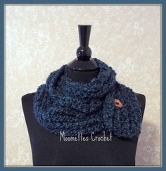 Crochet Infinity Scarf Dark Blue Lightweight Winter Cowlneck Wood Button Long Soft Warm Neck Warmer Handmade in USA