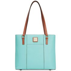 Dooney & Bourke Pebble Small Lexington Shopper (£120) ❤ liked on Polyvore featuring bags, handbags, tote bags, mint, leather tote bags, shopping bag, blue leather handbags, blue tote bag and dooney bourke tote